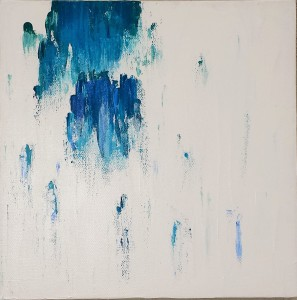 minimalist abstract painting teal