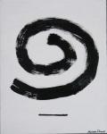 spiral black and white minimal art painting
