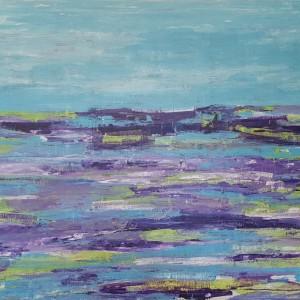 large abstract painting ocean waves beach purple teal blue