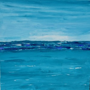 abstract ocean painting teal