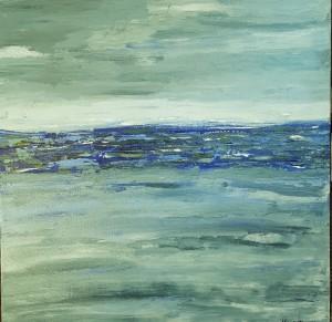 Abstract seascape beach decor interior design ocean painting Melinda Driscoll